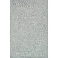 Hand-hooked Transitional Light Slate Grey Vine Rug - 9'3 x 13'