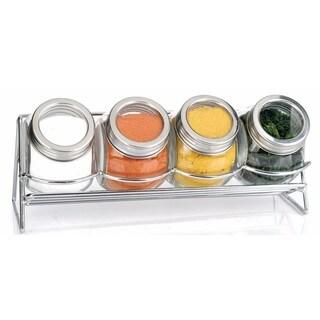 Euro-Ware 5 Piece Glass Spice Jar Set with Rack
