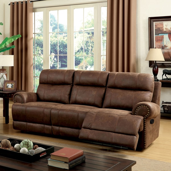 Shop Furniture Of America Langly Classic Brown Fabric-like