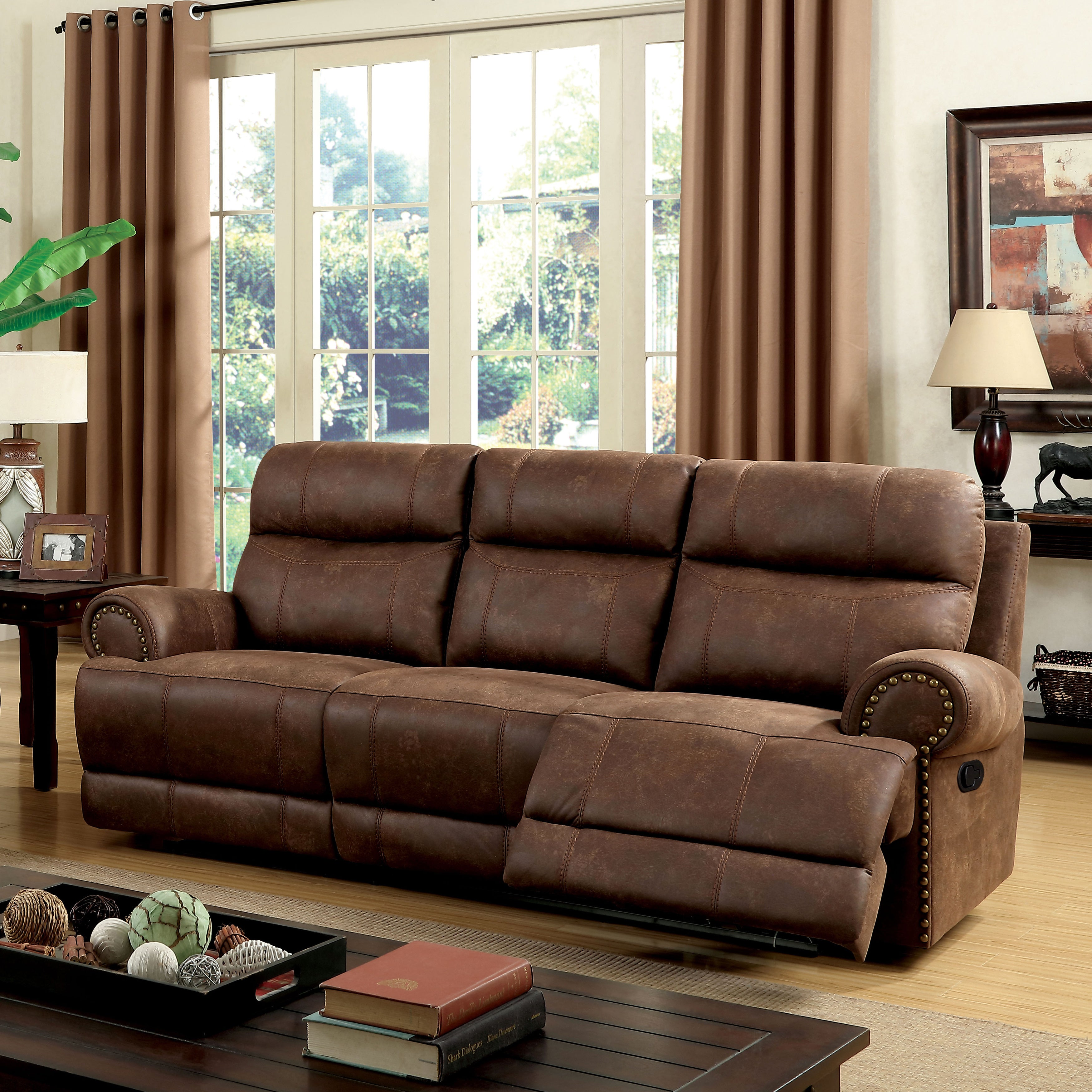 Furniture of America Langly Classic Brown Fabric-like Vin...
