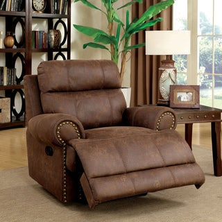 Furniture of America Langly Classic Brown Fabric-like Vinyl Glider Recliner & Vinyl Recliner Chairs u0026 Rocking Recliners For Less | Overstock.com islam-shia.org