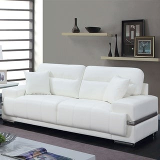 Furniture of America Vernan Modern Faux Leather Tufted Sofa
