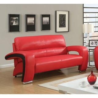 Furniture of America Speces Modern 2-Tone Breathable Leatherette Loveseat