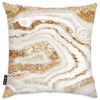 Oliver Gal 'Gold Agate' Decorative Throw Pillow
