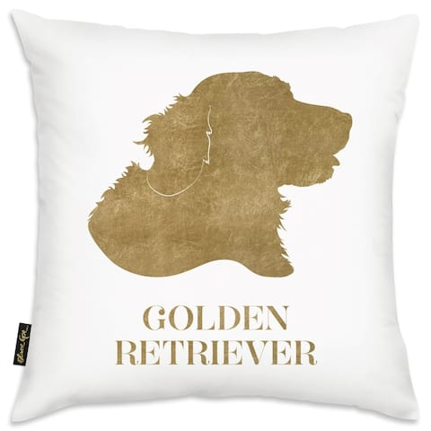 Oliver Gal 'Gold Golden Retriever- Square' Decorative Throw Pillow