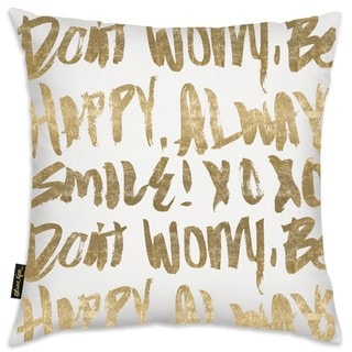 Oliver Gal 'Let's Be Happy' Decorative Throw Pillow