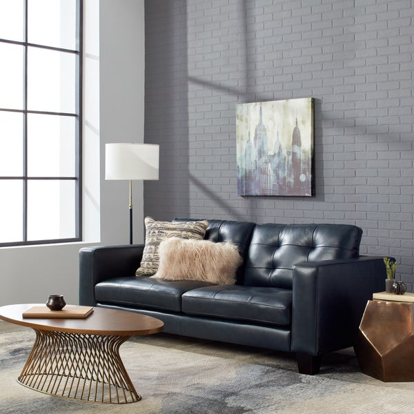 Shop Carson Carrington Carmella Top Grain Leather Navy Blue Sofa ...