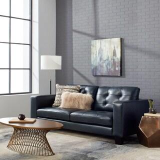 Carmella Top Grain Leather Navy Blue Sofa