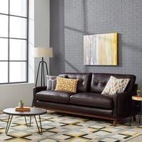 Carson Carrington Larson Top Grain Leather Espresso Mid Century Sofa