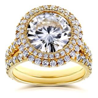 Annello by Kobelli 14k Yellow Gold 6 1/3ct TGW Moissanite (FG) & Diamond (GH) Unique Double Halo Statement Bridal Set