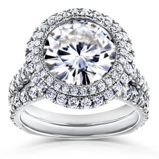 Annello by Kobelli 14k White Gold 6 1/3ct TGW Forever One Moissanite & Diamond Unique Double Halo Statement Bridal Set