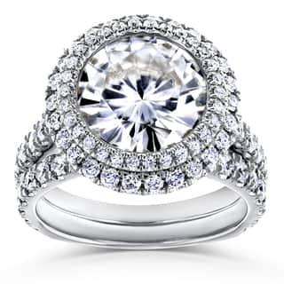 Annello by Kobelli 14k White Gold 6 1/3ct TGW Moissanite (FG) & Diamond Unique Double Halo Statement Bridal Set|https://ak1.ostkcdn.com/images/products/15892602/P22298276.jpg?impolicy=medium