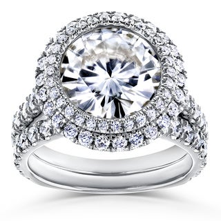 Annello by Kobelli 14k White Gold 6 1/3ct TGW Moissanite (FG) & Diamond Unique Double Halo Statement Bridal Set