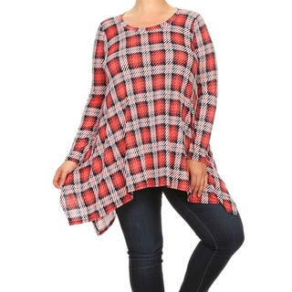 Women's Plus Size Red Plaid Tunic