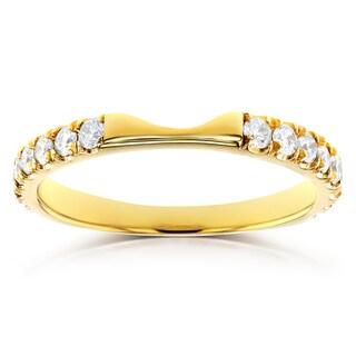 Annello By Kobelli 14k Yellow Gold 1 2ct TDW Diamond Notched Wedding Band