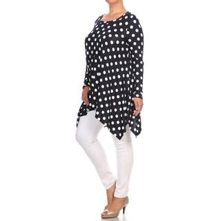 Women's Plus Size Navy Polka Dot Tunic