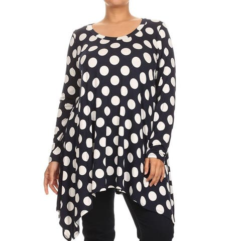 Women's Plus Size Navy Polka Dot Tunic