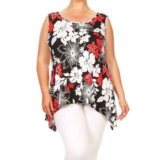 Women's Plus Size Floral Sleeveless Tunic