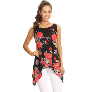 Women's Black Red Floral Sleeveless Tank Top