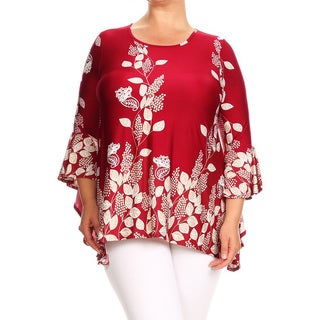 Women's Plus Size Burgundy Floral Garden Tunic