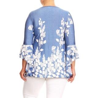 Women's Plus Size Blue Floral Garden Pattern Tunic