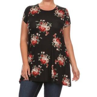 Women's Plus Size Black Floral Tunic