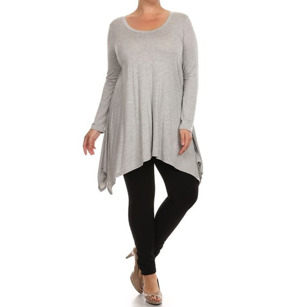 Women's Plus Size Solid Jersey Knit Tunic. Opens flyout.