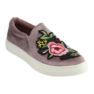 Soda IF12 Women's Floral Slip On Elastic Panel Padded Cuff Fashion Sneaker