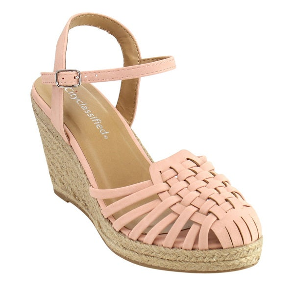 6fc6d31b6d CityClassified IF45 Women's Espadrille Caged Vamp Backless Wedge  Sandals