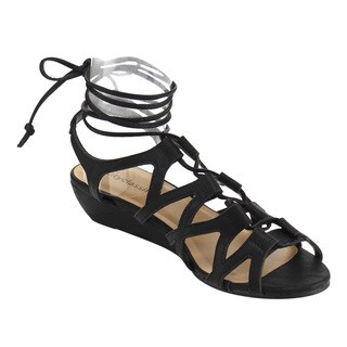 CityClassified IF30 Women's Lace Up Caged Strappy Wedge Sandals