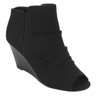 CityClassified ID50 Women's Open Toe Inside Zipper Wedge Booties