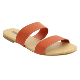 Soda IF10 Women's Double Strap Slide In Flat Beach Sandals