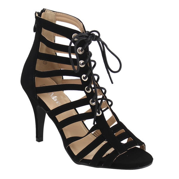 877b2059f5a9d1 BELLA MARIE IF23 Women  x27 s Lace Up Caged Back Zipper Stiletto Heel Sandal