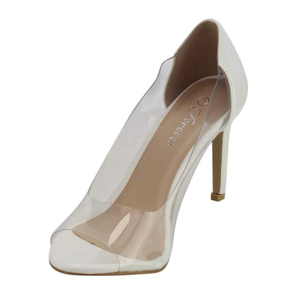 95e0cdb4d36 Shop Forever IF56 Women's Open Toe Clear Upper Stiletto Heel Pumps ...