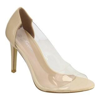 Forever IF56 Women's Open Toe Clear Upper Stiletto Heel Pumps