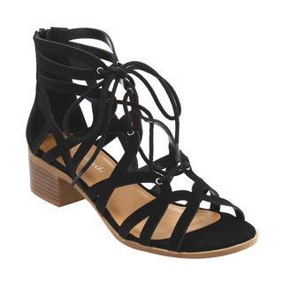 CityClassified IF06 Women Lace Up Strappy Back Zipper Stacked Block Heel Sandal