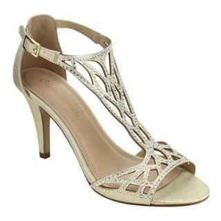 CityClassified IF42 Women's T-strap Rhinestone Stiletto Heel Sandals
