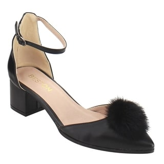 Beston DE26 Women's Pom Pom Ankle Strap D'orsay Chunky Heel Dress Pumps