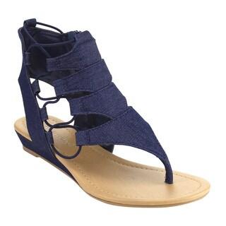 CityClassified IF32 Women's Elastic Lace Side Zipper Backless Wedge Sandal