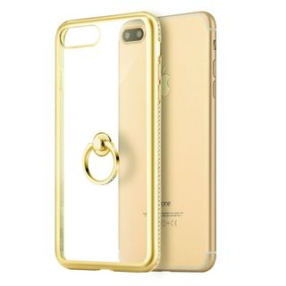 Insten Clear/ Gold TPU Rubber Candy Skin Case Cover with Ring stand/ Diamond For Apple iPhone 7 Plus