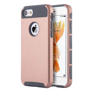 Insten Rose Gold/ Grey Glossimer UV Coating Hard Snap-on Dual Layer Hybrid Case Cover For Apple iPhone 7