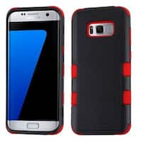 Insten Black/ Red Tuff Hard PC/ Silicone Dual Layer Hybrid Rubberized Matte Case Cover For Samsung Galaxy S8 Plus S8+