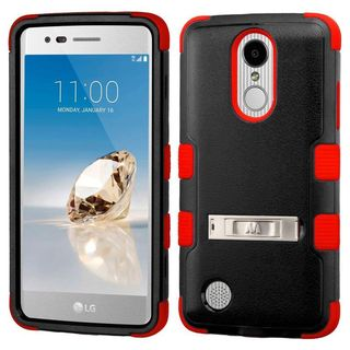 Insten Hard PC/ Silicone Dual Layer Hybrid Rubberized Matte Case with Stand For LG Aristo/ Fortune/ K8 (2017)/ LV3/ Phoenix 3