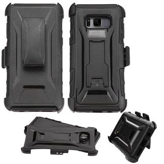 Insten Black Advanced Armor Hard Snap-on Dual Layer Hybrid Case Cover with Stand/ Holster For Samsung Galaxy S8