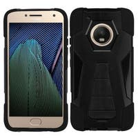 Insten Black Inverse Advanced Armor Hard Snap-on Dual Layer Hybrid Case Cover with Stand For Motorola Moto G5 Plus/ X (2017)