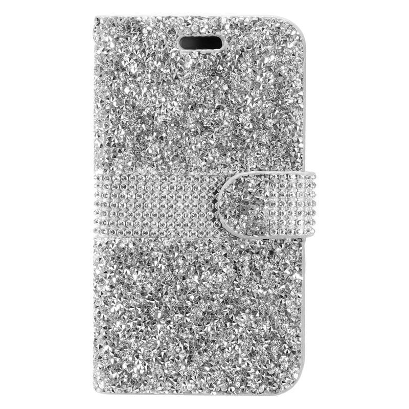 Insten Leatherette Diamond Bling Case Cover with Wallet F...