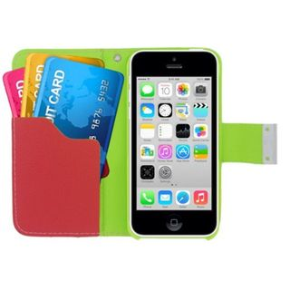 Insten Leatherette Case Cover with Wallet Flap Pouch For Apple iPhone 5C (Option: Green / Orange)