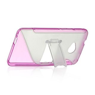 Insten Clear/ Hot Pink S Shape Hard Snap-on Case Cover For HTC One M7