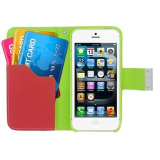 Insten Leatherette Case Cover with Wallet Flap Pouch For Apple iPhone 5/ 5S