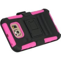 Insten Black/ Hot Pink Hard Snap-on Dual Layer Hybrid Case Cover with Stand/ Holster For Samsung Galaxy S6 SM-G920